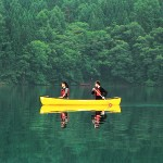 canoeing in japan - canadian canoe on lake aoki