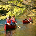 canoeing in japan - lake aoki in autumn