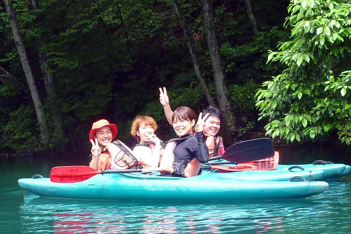 canadian canoe on lake aokiko in the sun