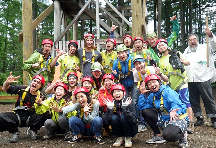team building in Japan - high ropes